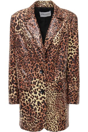 Stand Studio Juniper Leo Print Faux Leather Blazer