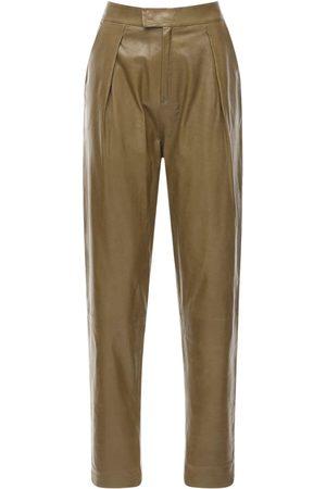 Zeynep Arcay Pleated Leather Pants