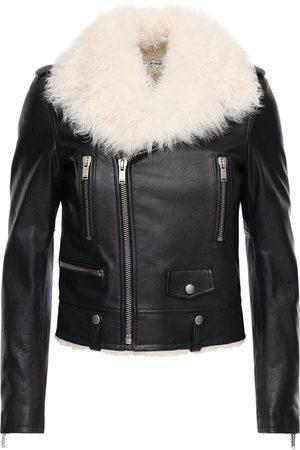 Saint Laurent Leather Biker Jacket W/shearling