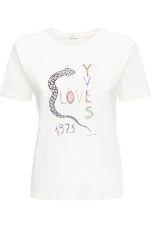 Saint Laurent Love Print Cotton Jersey T-shirt