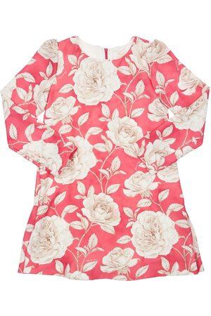 MONNALISA Floral Print Crepe De Chine Dress