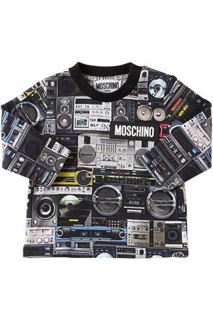 Moschino All Over Print L/s Cotton Jersey T-shirt