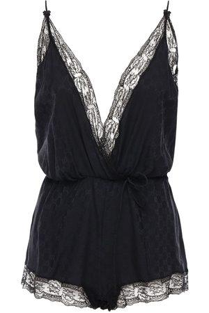 Gucci Gg Jacquard Silk Crepe & Lace Bodysuit
