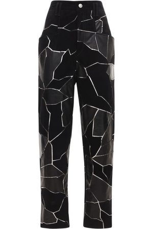 Isabel Marant Maeko Suede & Leather Patch Pants