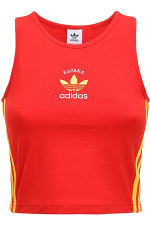 adidas 3-s Spain Stretch Cotton Crop Tank Top