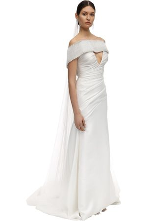 Sandra Mansour Embellished Mikado Long Dress