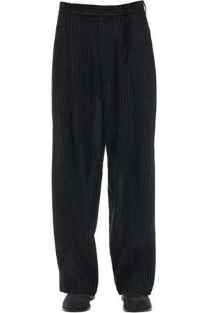 Rochas Pinstripe Virgin Wool Wide Leg Pants
