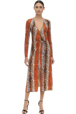 ROTATE Shiny Printed Stretch Jersey Midi Dress
