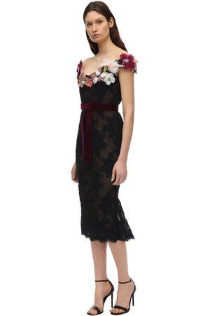 Marchesa Lace Off-the-shoulder Dress