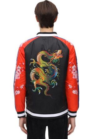 MINIMAL Mænd Bomberjakker - Color Block Dragon Print Bomber Jacket