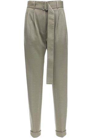Agnona High Waist Cashmere Blend Pants W/ Belt