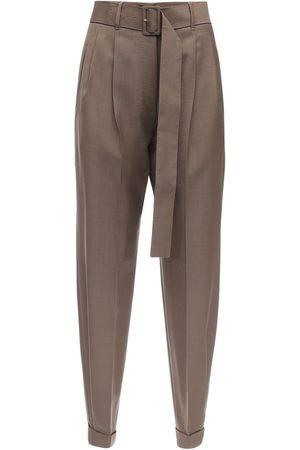 Agnona High Waist Mohair & Wool Pants