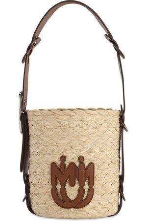 Miu Miu Faux Raffia Bucket Bag W/ Leather Strap