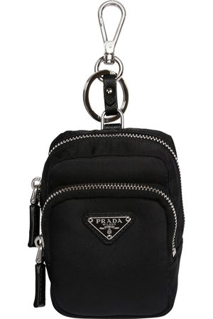 Prada Logo Nylon Key Holder W/ Leather Details
