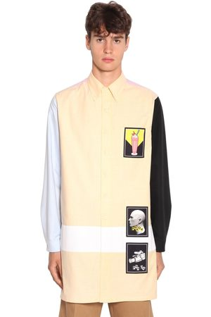 Prada Patched Color Block Cotton Oxford Shirt