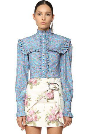 Paco rabanne Print Cotton Poplin Crop Shirt W/ruffles