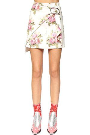 Paco rabanne Printed Cotton Blend Wrap Mini Skirt