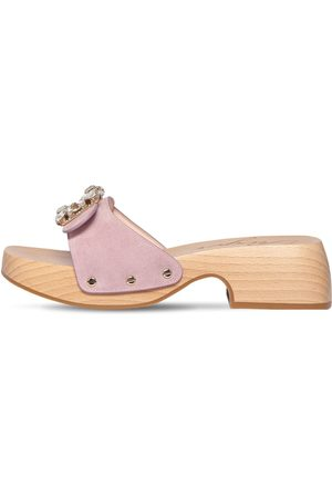 Roger Vivier 40mm Viv Embellished Suede Slide Clogs