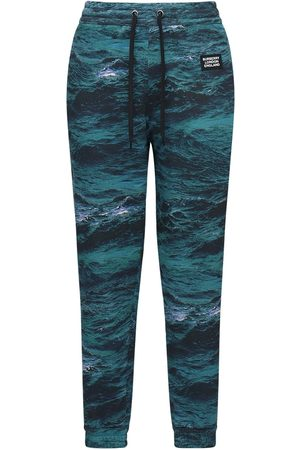 Burberry Printed Cotton Jersey Sweatpants W/ Tape
