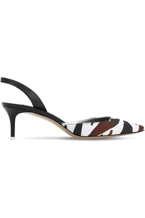The Attico 55mm Print Crepe Satin Sling Back Pumps