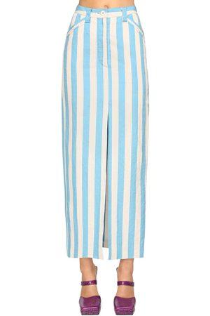 SUNNEI Striped Cotton Blend Midi Pencil Skirt