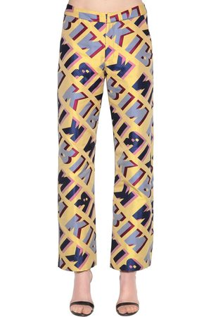 Kirin Typo Logo Jacquard Wide Leg Pants