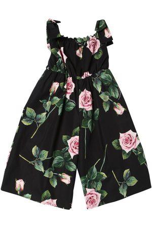 Dolce & Gabbana Rose Print Cotton Poplin Overalls