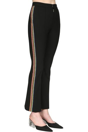 AREA Bonded Wool Crop Pants W/ Crystal Bands