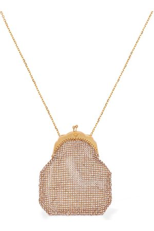 VERSACE Small Embellished Pouch Long Necklace