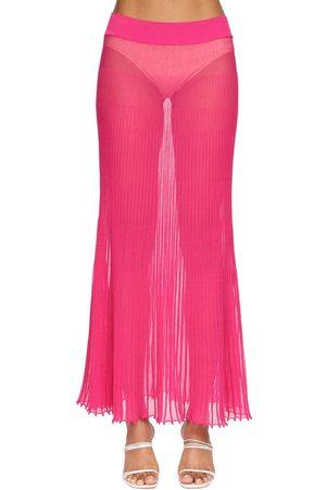 Jacquemus Kvinder Midinederdele - Plisse Sheer Knit Midi Skirt