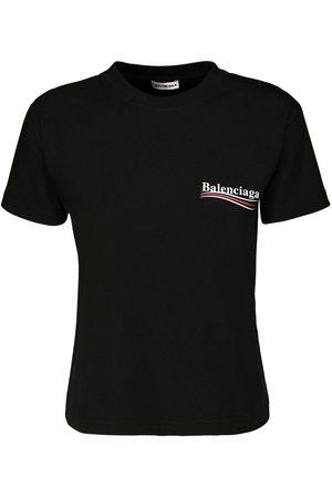 Balenciaga Fitted Political Logo Jersey T-shirt