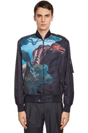 VALENTINO Nylon Dragon Patch Bomber Jacket
