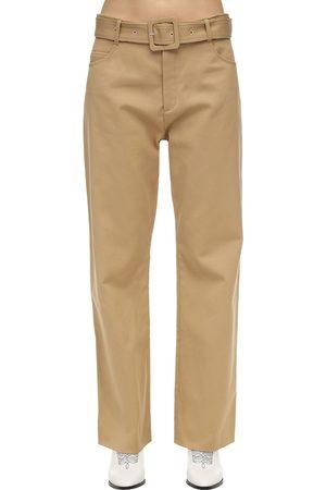 Courrèges Belted Cotton Twill Wide Leg Pants