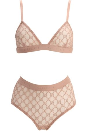 Gucci Gg Embroidered Sheer Tulle Lingerie Set