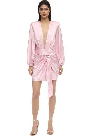 ALEXANDRE VAUTHIER Embellished Stretch Satin Mini Dress