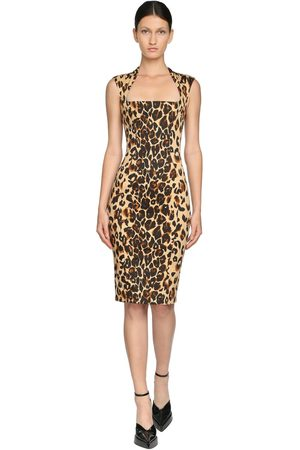 MUGLER Printed Stretch Gabardine Pencil Dress