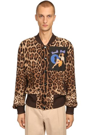 Dolce & Gabbana Leopard Print Bomber Jacket W/ Patch