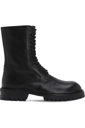ANN DEMEULEMEESTER 30mm Brushed Leather Combat Boots