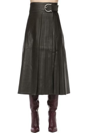 DODO BAR OR Kvinder Lædernederdele - Belted Leather Midi Skirt W/ Pleats