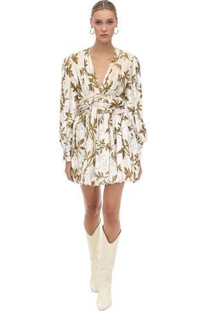 DODO BAR OR Draped Velvet Jacquard Mini Dress