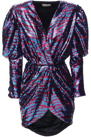 GIUSEPPE DI MORABITO Zebra Sequined Draped Mini Dress