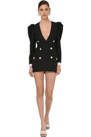 Alessandra Rich Puff Shoulder Cool Wool Jacket Dress