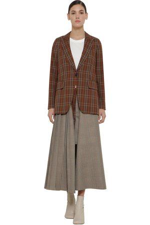 MM6 MAISON MARGIELA Check Wool Blend Jacket W/pleated Panel