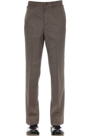 Burberry Tailored Slim Check Cotton Blend Pants