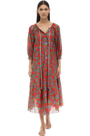 Borgo De Nor Kvinder Mønstrede kjoler - Natalia Floral Print Silk & Cotton Dress