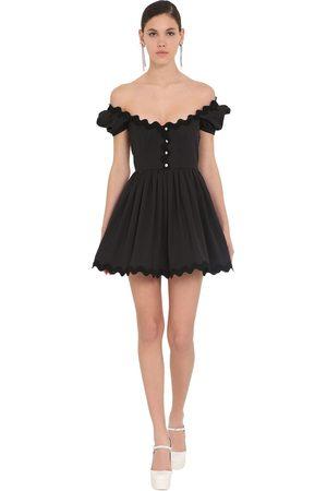 Miu Miu Off Shoulder Cotton Poplin Mini Dress