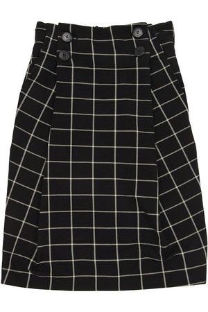 Unlabel Long Check Print Viscose Blend Skirt