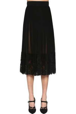 Dolce & Gabbana Pleated Silk Georgette & Lace Midi Skirt