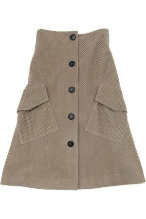 Unlabel Long Button Down Cotton Velvet Skirt