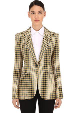 Victoria Beckham Checked Virgin Wool Blend Blazer
